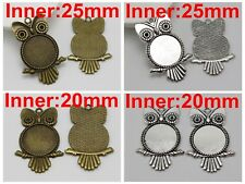 Bronze Tibet Silver Owl Pendant Cameo Cabochon Setting Blank Inner:20mm 25mm