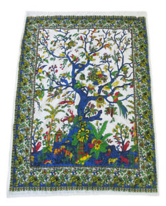 Indian Cotton Tree Of Life Baby Kantha Quilt Blanket Throw Reversible Bedspread