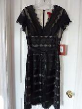 JS Collections Women's Belted Satin Tier Lace A-Line Dress sz 8, Black