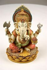 Seated Ganesh Statue Hindu Elephant Color Details Elegant O-167SP