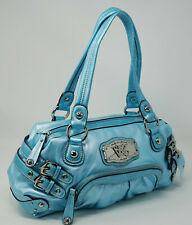 NWT Kathy Van Zeeland Bright Light Blue Buckle Detail Satchel Handbag Purse