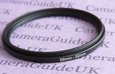 58mm to 52mm 58-52 Stepping Step Down Filter Ring Adapter UK