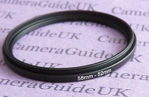 58mm to 52mm 58-52 Stepping Step Down Filter Ring Adapter