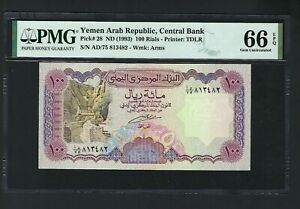 Yemen Arab Republic , 100 Rials ND(ca1993) P28 Uncirculated Grade 66