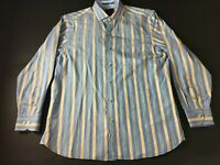 Tommy Bahama Mens Blue Striped Front Pocket Button Front Shirt Size Medium