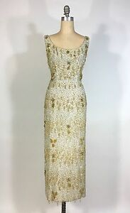 Vintage late 1950's Silver & Gold heavily beaded SAMUEL WINSTON by ROXANE gown
