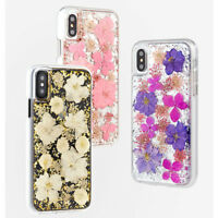 Luxury for iPhone Xs Max X 8 S9 Bling Glitter Foil Cover Real Petals Flower Case