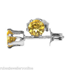 4mm ROUND GENUINE GOLDEN YELLOW CITRINE 925 STERLING SILVER STUD EARRINGS