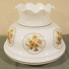 Vintage 7� Fitter Gwtw Floral Print White Glass Hurricane Oil Kero Lamp Shade