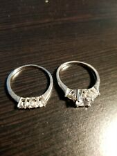 Set 2Pc - Silver - Size: 9 Women's Sterling Silver Round & Pear Cz Bridal