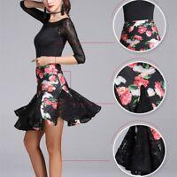 Women Latin Dance Floral Lace Fishtail Skirts Dress Salsa Tango Ballroom Fashion