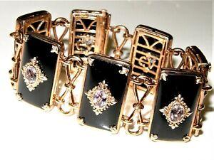 "Le Vian CARLO VIANI Silver 4.55CT Amethyst Onyx Bracelet 6.75"" long $4547"