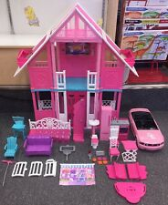 2010 Malibu Barbie Dream Doll House Dollhouse 3 Floor Accessories Furniture Lot