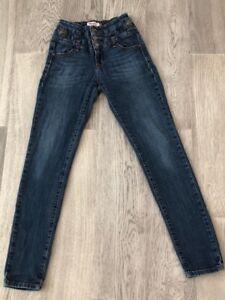 Women's / Juniors  Eunina Medium Dark Wash High Waist Rise Skinny Jean 5 #384-1