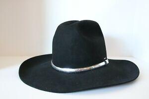 Vintage Resistol Black Quicksilver 4X Cowboy Hat Western Beaver Felt size 7