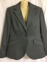 NWT Women's Brooks Brothers 346 Sz 10 gray striped blazer jacket wool