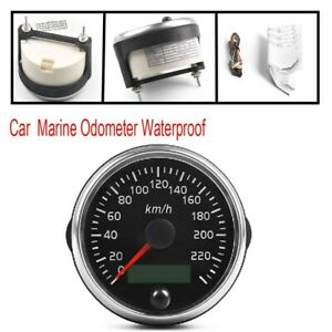 200KM/H Speedometer LCD Digital Gauge Car Marine Odometer Waterproof Practical