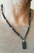 Mens dog tag necklace,black yak bone,hand made,leather,6 sizes,wood beads.