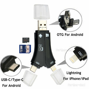 USB Flash Drive TF SD Card Reader for IOS iPhone Macbook iPad OTG Type-C Android