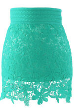 Sexy Lined Crochet Lace Skirt Mint Small/Medium