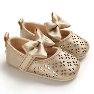 Fashion Baby Girl Gold Crib Shoes Infant Princess Wedding Party Dress Shoes 0-18