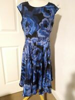 Boden Blue Silk midi Floral Fit & Flare Dress Size 14 L Occasion Summer Wedding