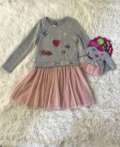 Dollie /& Me Girls Size 4-14 Purple Black Shrug Two-fer Top Tutu Skirt Set