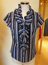 Short Sleeve Blouses Fitted Striped Tops & Shirts for Women