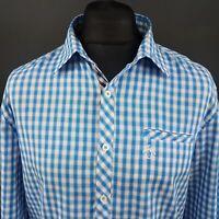 Penguin Mens Shirt XL Long Sleeve Blue Regular Fit Check Cotton Polyester