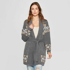 Women's Long Sleeve Jacquard Belted Cardigan - Knox Rose - Gray - XS - NWT