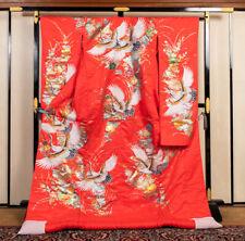 Japanese Kimono Robe Dress Cardigan Jacket Flying Crane Uchikake Gold Red N794