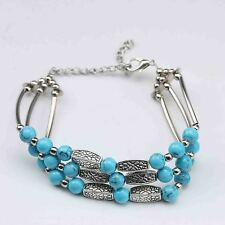 100% Natural Turquoise & Tibet Silver Handwork Chinese Bracelet  G577