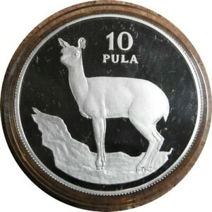 elf Botswana 10 Pula 1978 Silver Proof Klipspringer Case COA only 3,989 minted