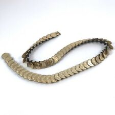 Vintage 80's Coin Medallion Belt Boho Thin Elastic Stamped Metal Bust Profile