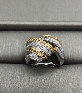 NEW 18k Solid Multi-tone Gold Genuine Diamond Ring Fancy Yellow Diamond