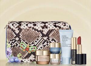 Estée Lauder 2021 Gift Set Day & Eye Creams, Cleanser, Mascara Lipstick, Bag NIB