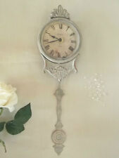 Shabby Chic PENDULUM WALL CLOCK French Grey Antique Vintage Style Paris NEW