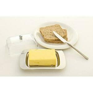 Butter Dish Stainless Steel With Acrylic Lid 18 x 13 Soft Fresh Spreadable Butte