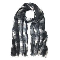John Varvatos Star USA Men's Plaid Fashion Fringe Scarf Silk Blend Silver Coal