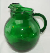 """Anchor Hocking Forest Green Roly Poly Ball Pitcher with Ice Lip,9¼"""" Tall"""