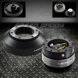 NRG STEERING WHEEL SHORT HUB+2.0 BLACK QUICK RELEASE FOR 03-16 350Z/370Z/G35/G37