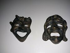 Vintage solid Brass Greek Comedy - Tragedy Masks wall hangings