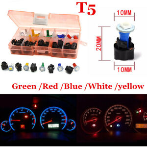 30 Sets T5 Twist Socket Car Instrument Panel Cluster Plug Dash LED Light Bulb