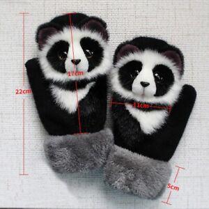 Women Winter Gloves Ladies Girls Outdoor Thick 3D Cartoon Dog Warm Mittens Thick