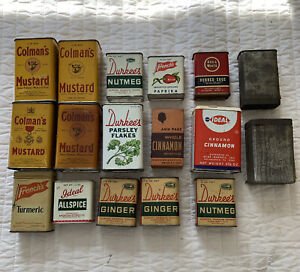 Vintage Antique Lot of Spices Cooking Tins Advertising