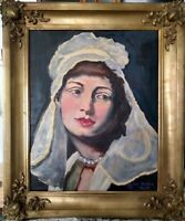 """""""LADY IN WHITE""""; OIL ON CANVAS - ANTIQUE FRAME by Mississippi artist Guy Foster"""
