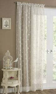 """Tyrone 'Florence' Embroidered Slot Top Single Curtain Panel - Cream (55"""" x 90"""")"""