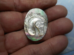 New Horse Head Carved Smoky MOP Oval Button 1-3/16""