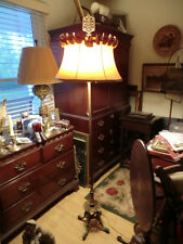 Antique Art Deco Gilded and Painted Cast Iron Floor Lamp