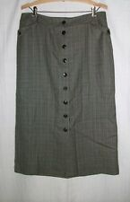 PENDLETON 100% Wool Small Check Lined Long Straight Skirt 10 Button Front